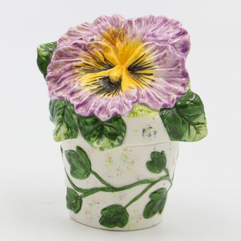 Mauve Pansy Flower Pot Porcelain Salt and Pepper Shakers, Set of 4