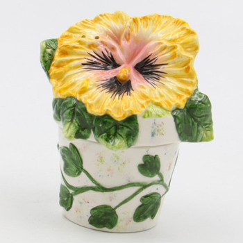 Yellow Pansy Flower Pot Porcelain Salt and Pepper Shakers, Set of 4