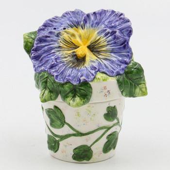 Blue Pansy Flower Pot Porcelain Salt and Pepper Shakers, Set of 4
