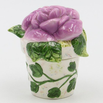 Purple Rose Flower Pot Porcelain Salt and Pepper Shakers, Set of 4