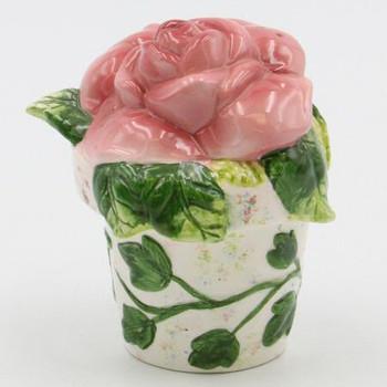 Red Rose Flower Pot Porcelain Salt and Pepper Shakers, Set of 4