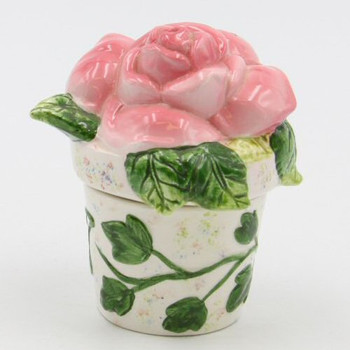 Pink Rose Flower Pot Porcelain Salt and Pepper Shakers, Set of 4