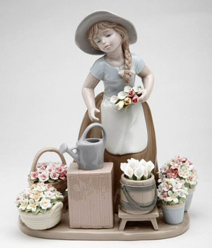 Girl with Flower Baskets Porcelain Sculpture by Nadal