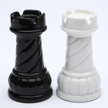Black and White Rook Chess Porcelain Salt and Pepper Shakers, Set of 4