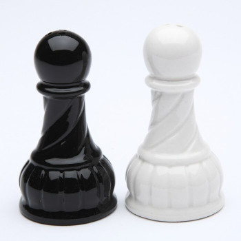 Black and White Pawn Chess Porcelain Salt and Pepper Shakers, Set of 4