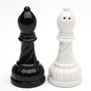Black and White Bishop Chess Porcelain Salt and Pepper Shakers, Set of 4