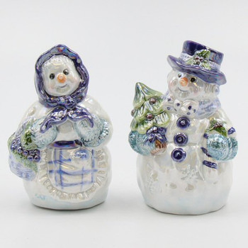Snowman Couple Blue Porcelain Salt and Pepper Shakers, Set of 4