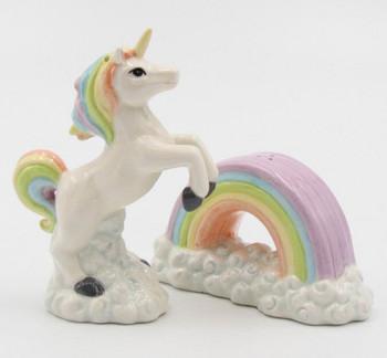Unicorn over Rainbow Porcelain Salt and Pepper Shakers, Set of 4