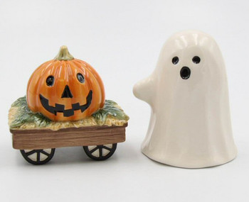 Casper the Ghost and Pumpkin Wagon Porcelain Salt and Pepper Shakers, Set of 4