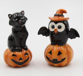 Owl Bird and Black Cat on Pumpkin Porcelain Salt and Pepper Shakers, Set of 4