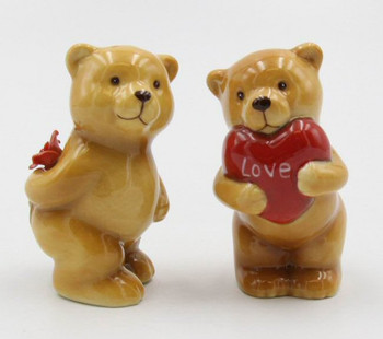 Lover Bears with Rose & Heart Porcelain Salt and Pepper Shakers, Set of 4
