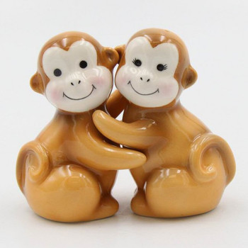 Brown Monkey Porcelain Salt and Pepper Shakers, Set of 4