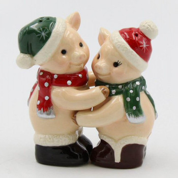 Christmas Pigs Porcelain Salt and Pepper Shakers, Set of 4