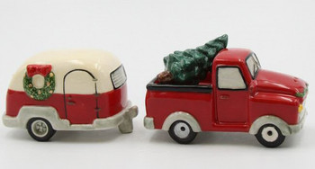 Christmas Red Truck and Camper Trailer Porcelain Salt and Pepper Shakers, Set of 4