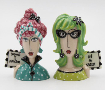 Dollymama's Lady of Perfection and Spice Ceramic Salt and Pepper Shakers, Set of 4