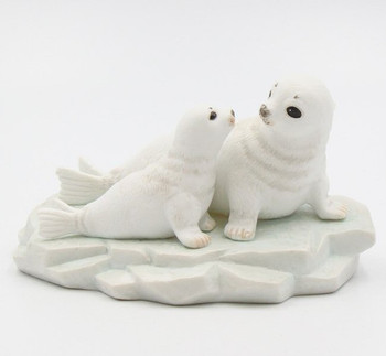 Mom and Baby Seal Porcelain Sculpture