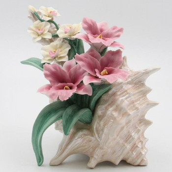 Seashell with Orchid Flowers Porcelain Sculpture