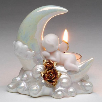 Celestial Cherub Porcelain Tea Light Candle Holders, Set of 2