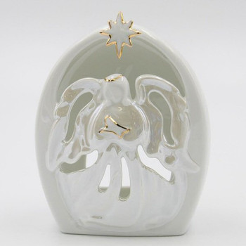 Nurse Guardian Angel Porcelain Tea Light Candle Holders, Set of 2