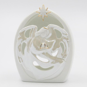 Fireman Guardian Angel Porcelain Tea Light Candle Holders, Set of 2