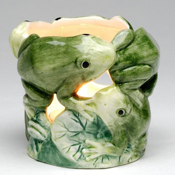Green Frogs Porcelain Tea Light Candle Holders, Set of 4