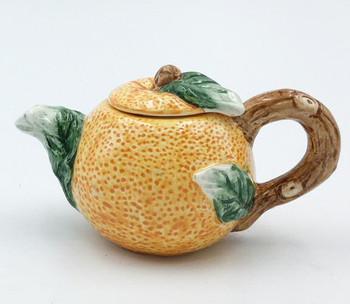 Mini Orange Porcelain Teapots, Set of 2