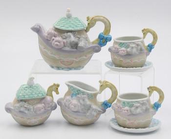 Noah Ark Mini Porcelain Teapot Set, Set of 7