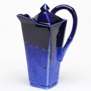 Modern Square Blue Ceramic Teapot