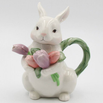 Bunny Rabbit Holding Tulip Flowers Porcelain Teapot