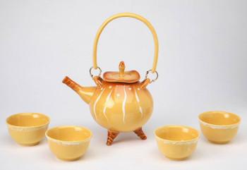 Rattan Yellow Ceramic Teapot Set, Set of 5