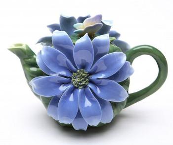 Blue Splendor Flower Porcelain Teapot