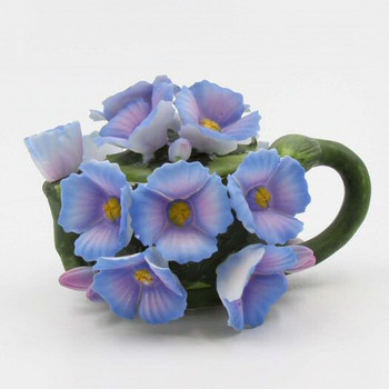 Hydrangea Flower Porcelain Teapots, Set of 2