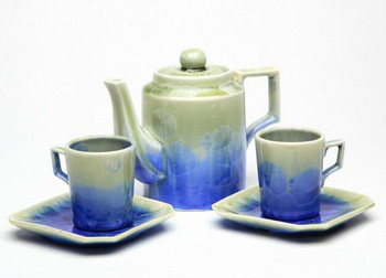 Royal Blue and Teal Ceramic Teapot Set, Set of 5