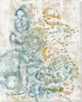 Elliptical Cyan Wrapped Canvas Giclee Art Print Wall Art