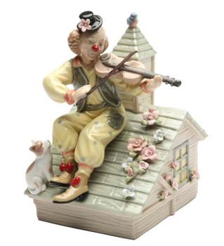 Fiddling Clown with Kitten Musical Music Box Sculpture