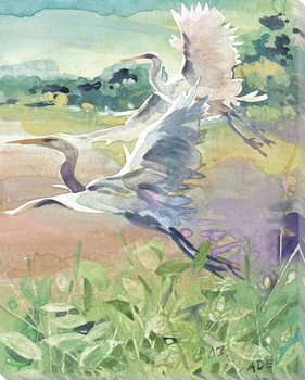 Heron Birds in Flight Wrapped Canvas Giclee Art Print Wall Art