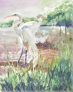 Heron Birds At Rest Wrapped Canvas Giclee Art Print Wall Art