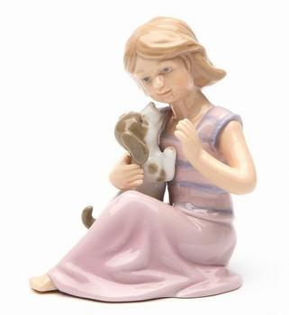 Daughter Holding Her Puppy Dog Porcelain Sculpture