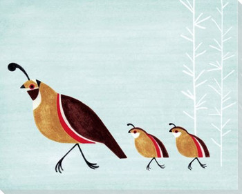 Quail Birds Wrapped Canvas Giclee Art Print Wall Art