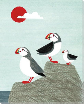 Puffin Bird Family Wrapped Canvas Giclee Art Print Wall Art