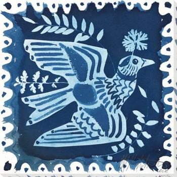 Folk Bird Left Wrapped Canvas Giclee Art Print Wall Art