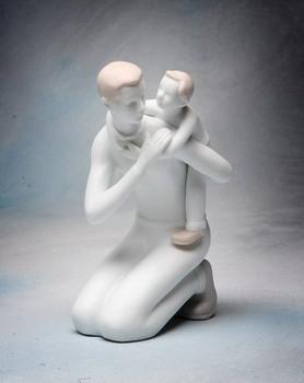 Father and Son Bonding Porcelain Figurine Sculpture