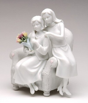 Mother and Daughter Porcelain Sculpture