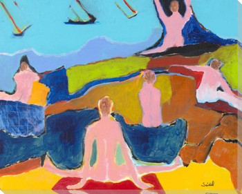 Sunbathers at the Beach Wrapped Canvas Giclee Art Print Wall Art