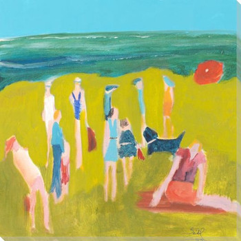 Michigan People on the Beach Wrapped Canvas Giclee Art Print Wall Art