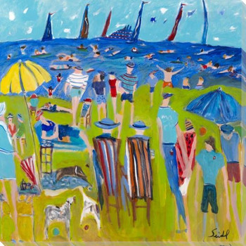 Labor Day at the Beach Wrapped Canvas Giclee Art Print Wall Art