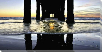 Pier Perspective Wrapped Canvas Giclee Art Print Wall Art