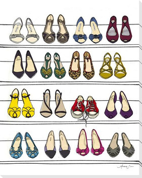 Dream Shoe Closet Wrapped Canvas Giclee Art Print Wall Art