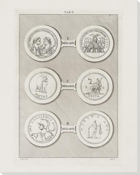 Greek Intaglios Plate V Wrapped Canvas Giclee Art Print Wall Art