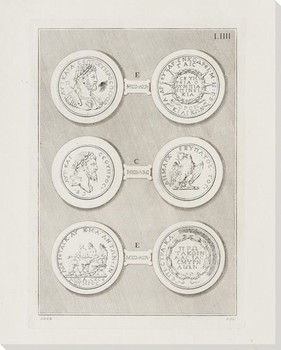 Greek Intaglios Plate LIIII Wrapped Canvas Giclee Art Print Wall Art